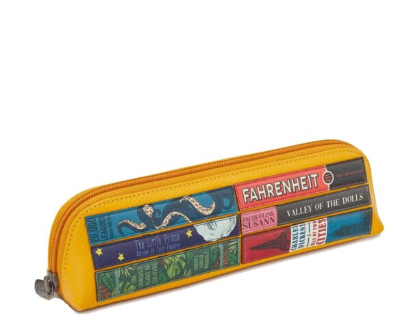 Leather Pencil Case Bookworm Yellow